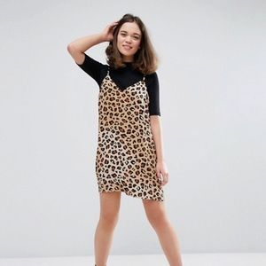 Monki leopard print cami dress XS